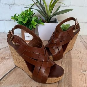 Tory Burch Brown Leather Strap Wedge Sandals Sz 8